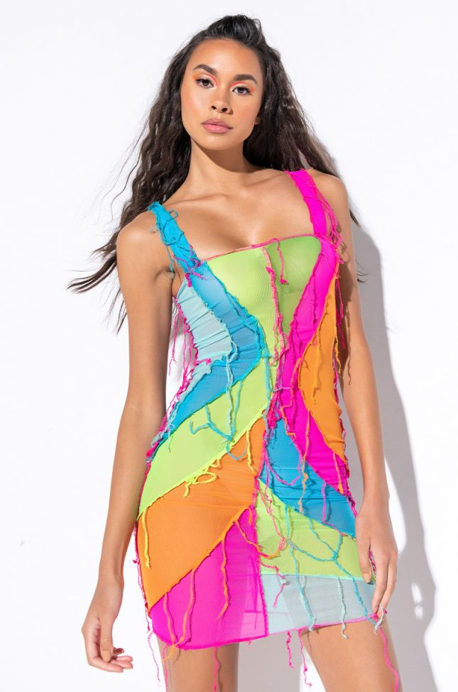 Front View Let Me Do Me Midi Mesh Dress in Pink Multi