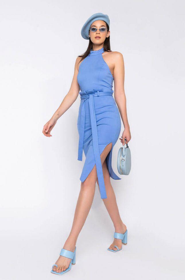 Full View Let Me Talk To Em Halter Neck Midi Dress in Light Blue