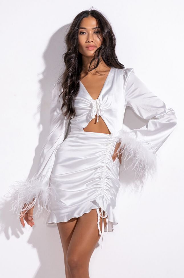 Front View Let Them Know Sis Feather-cuff Mini Dress