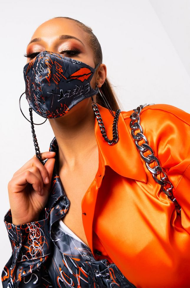 Detail View Let Us Live By Shamaica Chanel Chain Mask in Black Multi