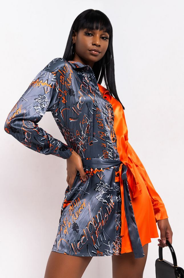 Front View Let Us Live By Shamaica Chanel Two Tone Shirt Dress in Black Multi