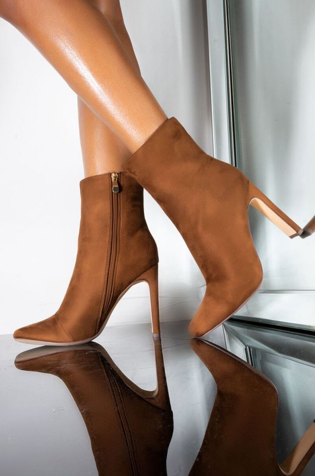 Front View Lets Fall In Love Chunky Bootie in Tan