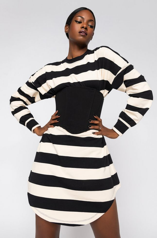 Front View Lets Get Away Long Sleeve T-shirt Dress And Fanny Pack in Black Multi
