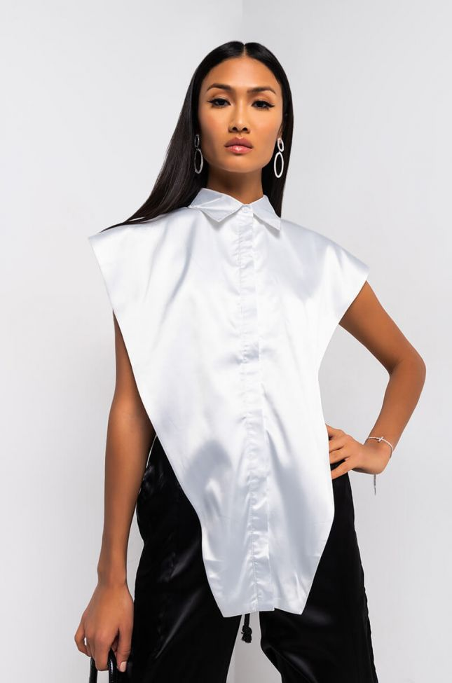 Front View Lets Make It A Thing Sleeveless Collared Blouse in White