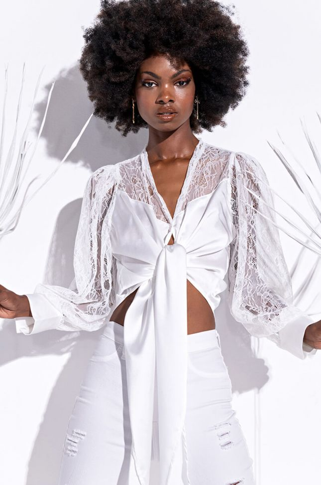 Side View Lets Mingle Tie Front Blouse With Lace Sleeves in White