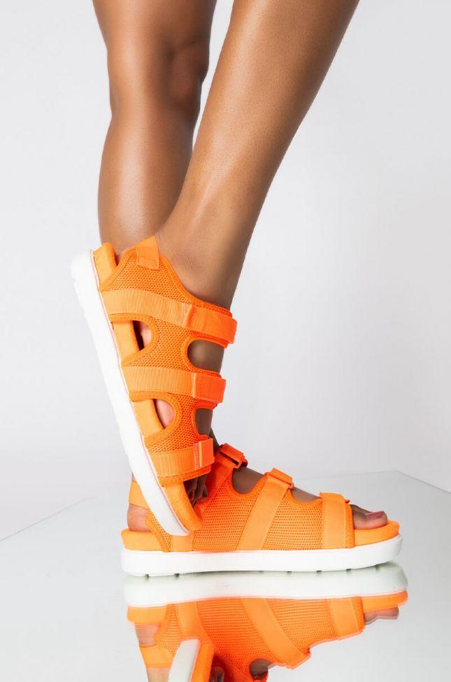 Front View Lets Ride Flatform Sandal in Orange