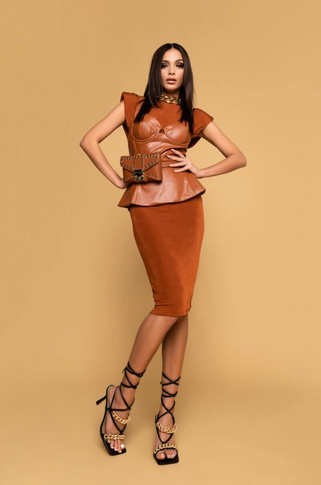 Lets Take A Ride Faux Leather Blouse in Rust