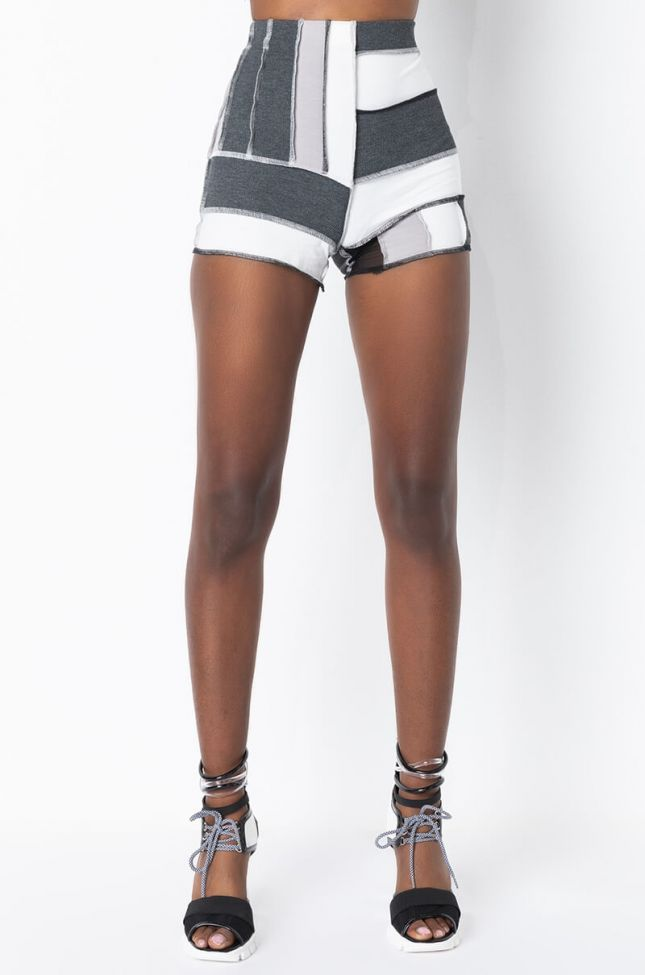 Front View Level Up Contrast Trim Short in Black Multi