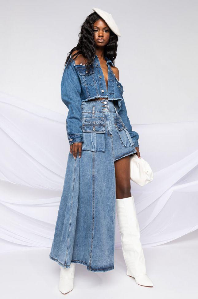 Level Up Maxi Mini Denim Skirt in Light Blue Denim