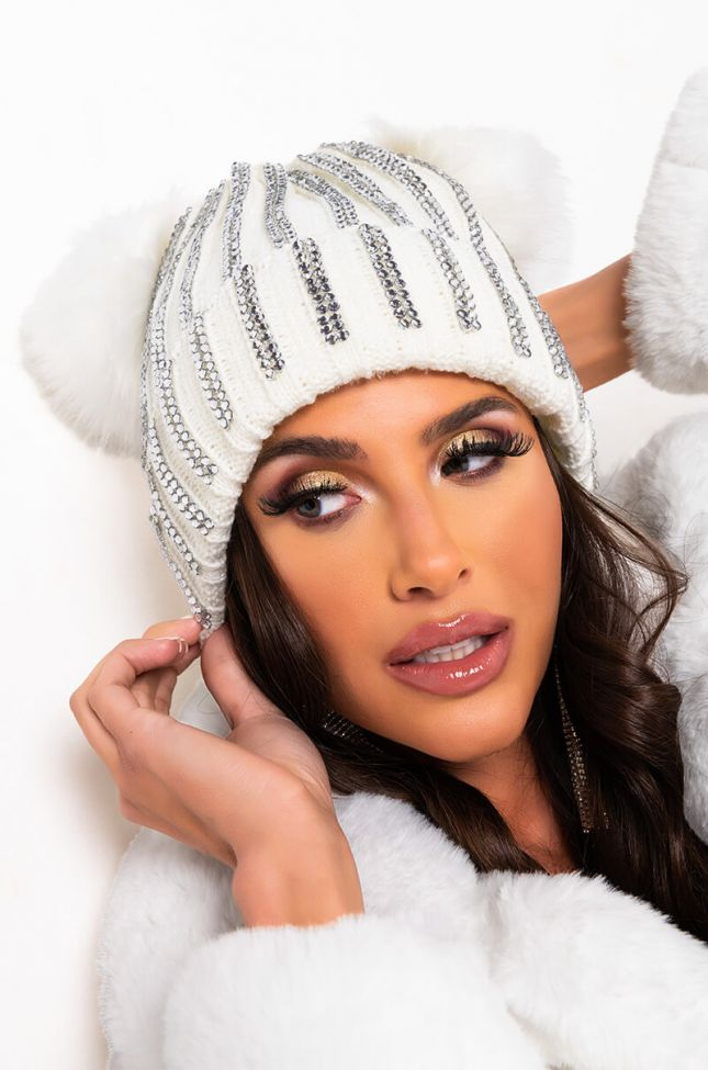 Front View Lexii Rhinestone Knit Mouse Beanie in White