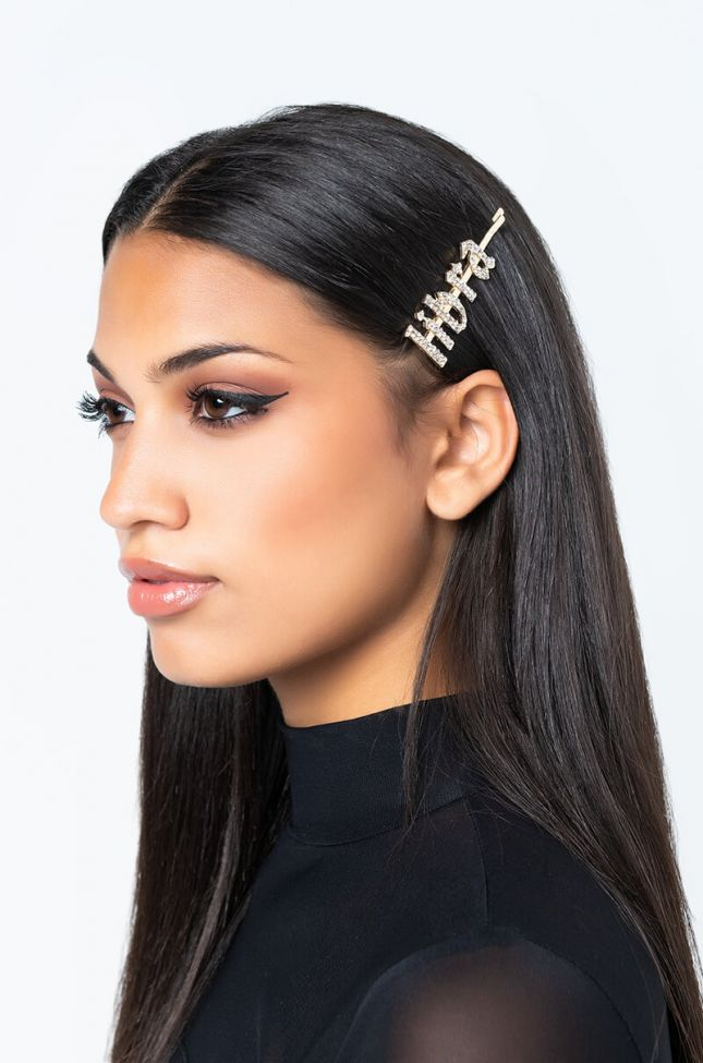 Front View Libra Hair Clip in Gold
