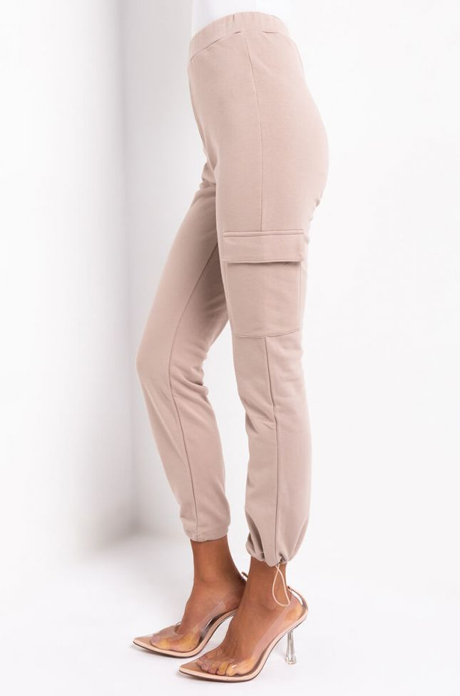 Side View Life Is Great Cargo Sweatpant Jogger in Beige