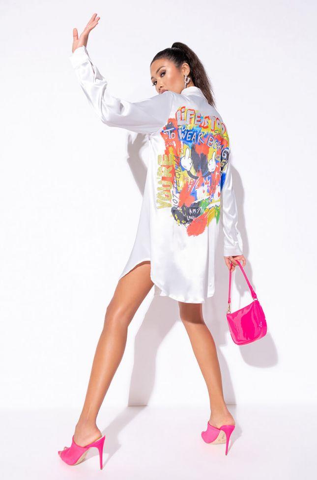 Life Is Too Short Satin Rhinestone Shirt Dress in White Multi