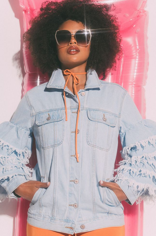 Front View Life Of The Party Ruffle Denim Jacket in Light Blue Denim