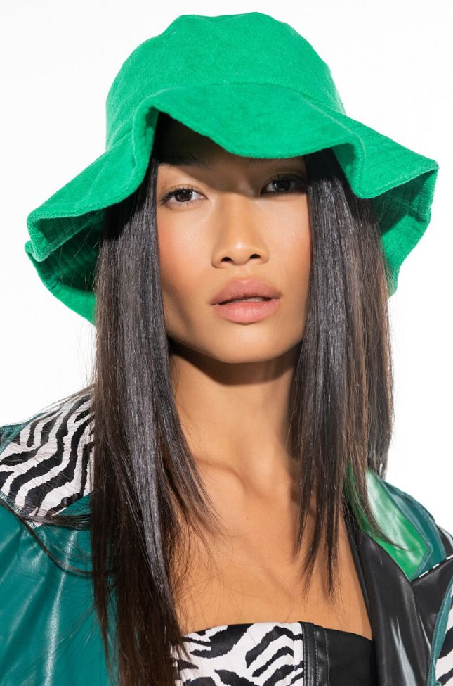 Front View Lifes A Beach Terry Bucket Hat