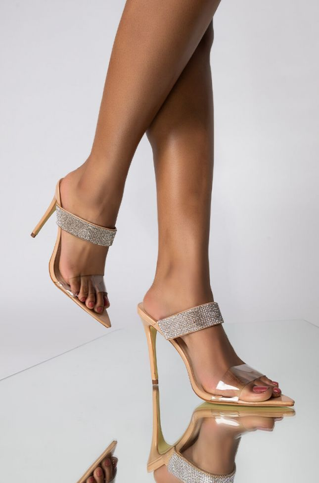 Front View Light Me Up Stiletto Sandal in Nude Patent