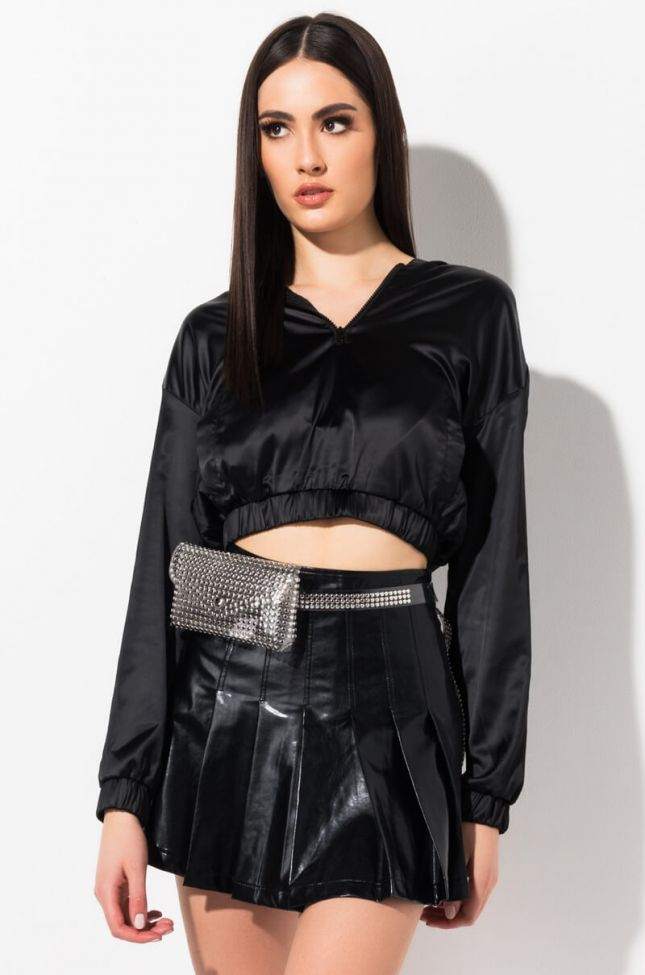 Front View Light Out Satin Sweatshirt in Black