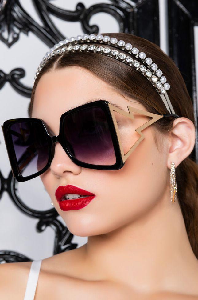 Side View Lightning Oversized Sunglasses in Black Multi