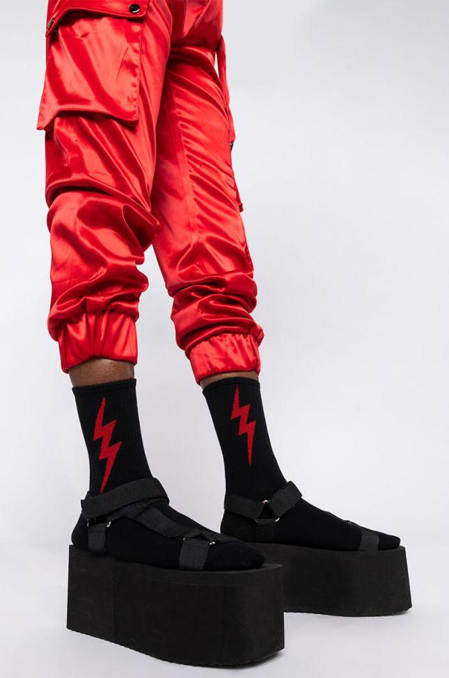 Front View Lightning Socks in Black