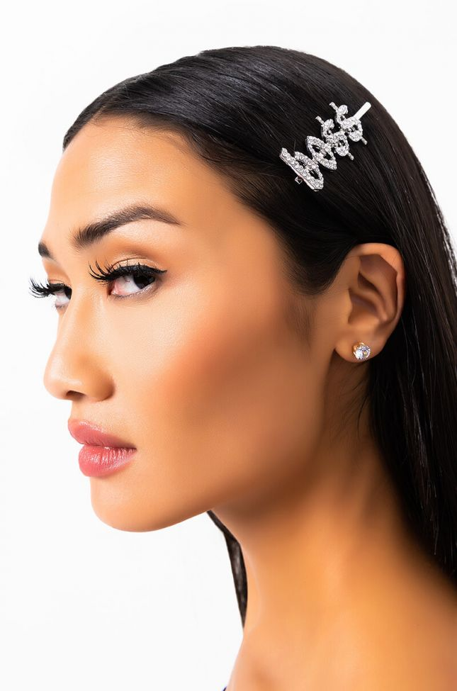 Front View Like A Boss Hair Clip in Silver