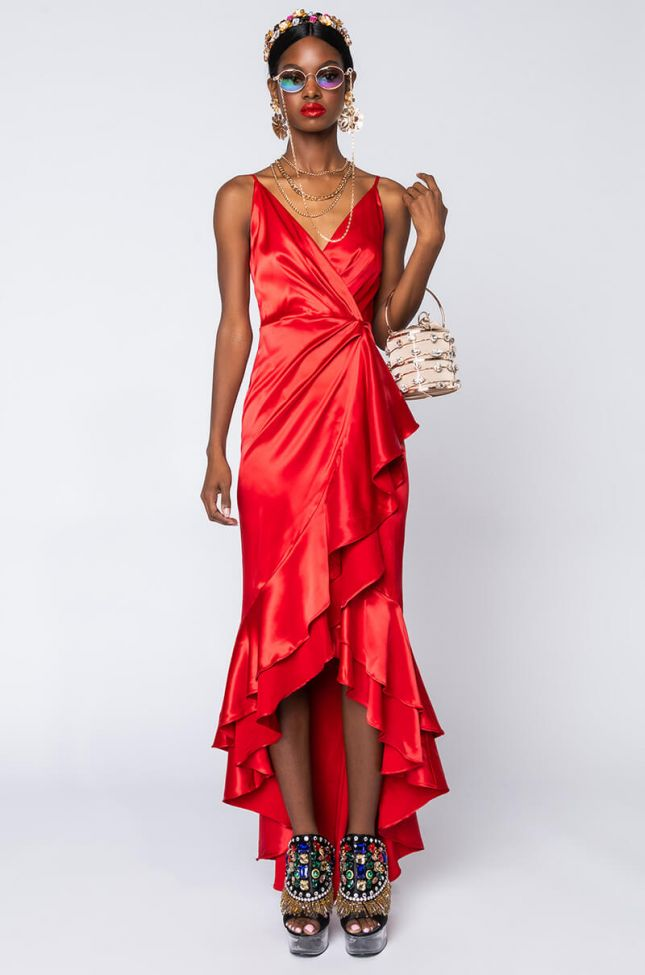 Back View Like A Rose High Low Dress in Red