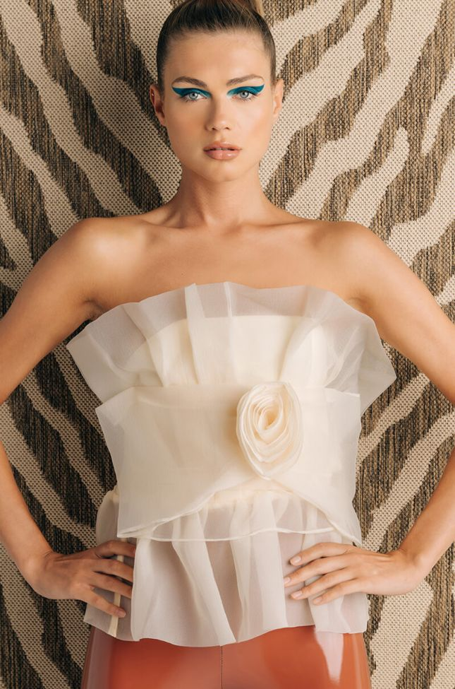 Front View Like A Rose Tulle Tube Fashion Blouse in Ivory