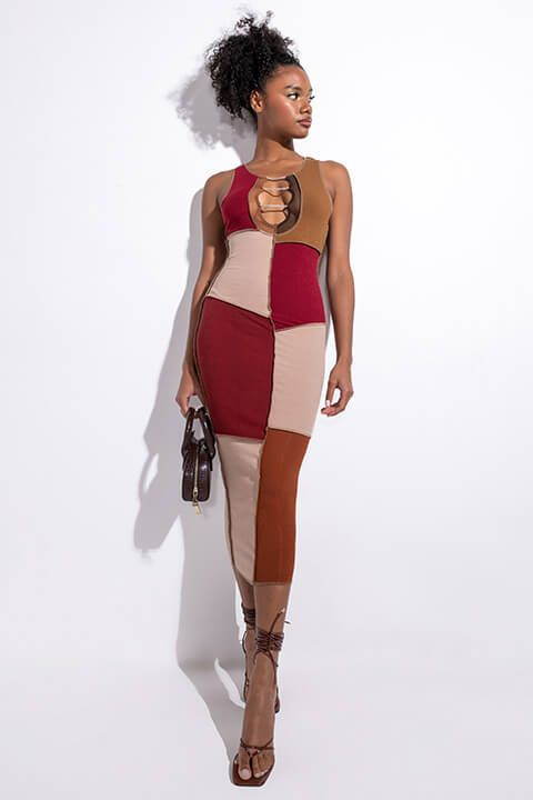 Front View Like I Never Left Midi Dress With Rhinestone Detail