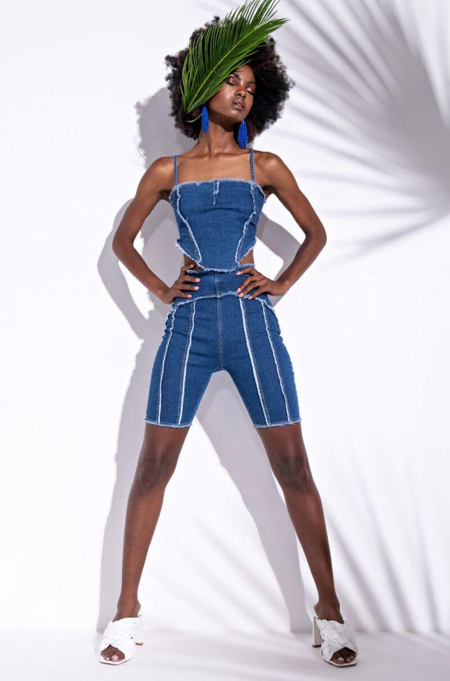 Like Its Hot Denim Biker Shorts in Blue