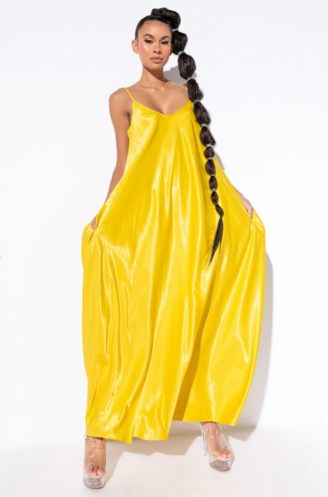 Front View Like Royalty Maxi Satin Dress in Yellow