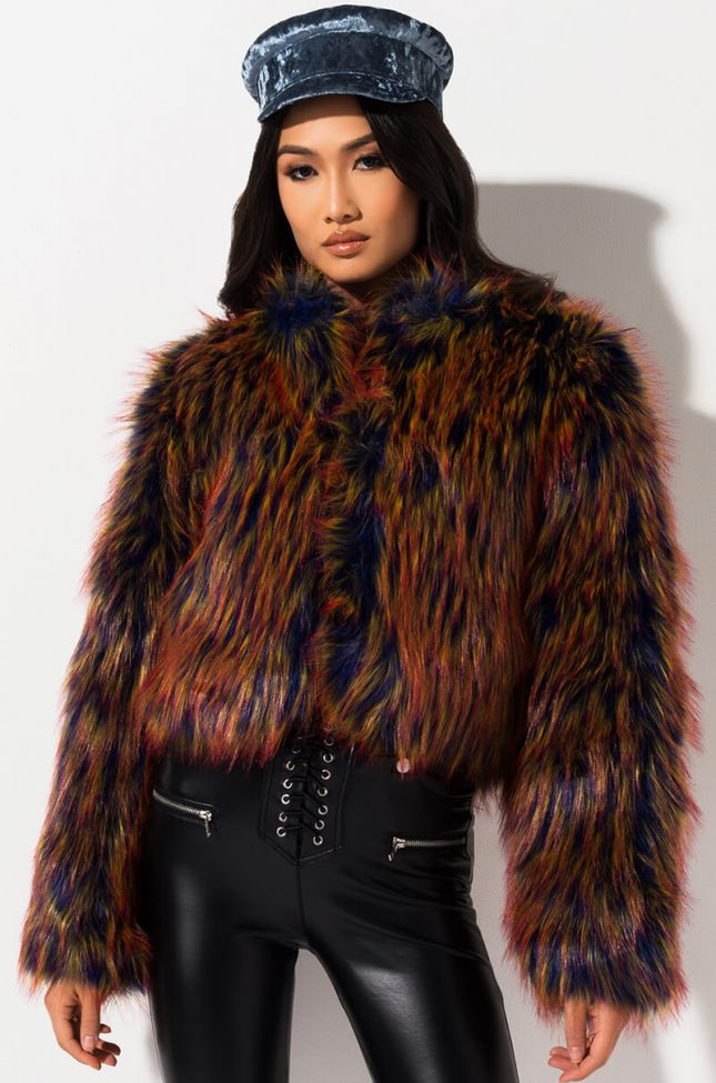 Front View Lil Baby Fur Coat in Blue Multi