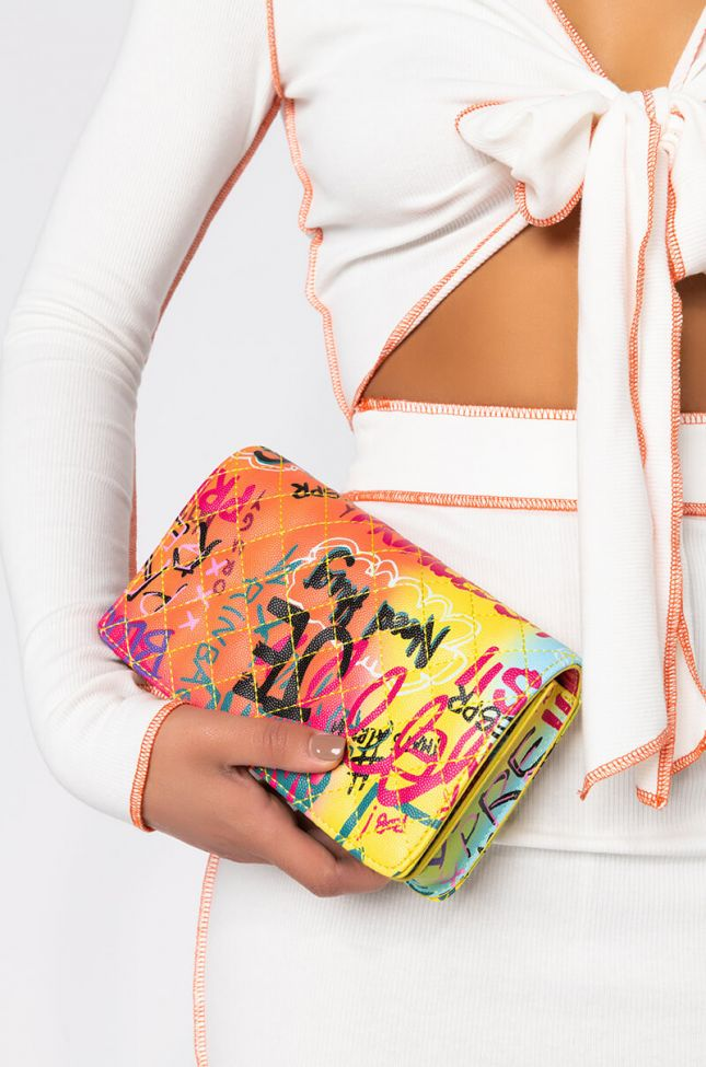 Front View Lil Baby Graffiti Purse in Yellow Multi