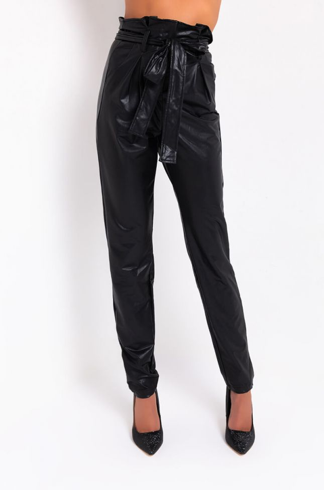 Front View Lila Paper Bag Faux Leather High Waist Cigarette Pants in Black