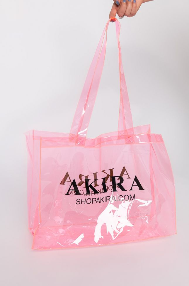 Side View Limited Edition Akira Pvc Shopping Bag in Pink