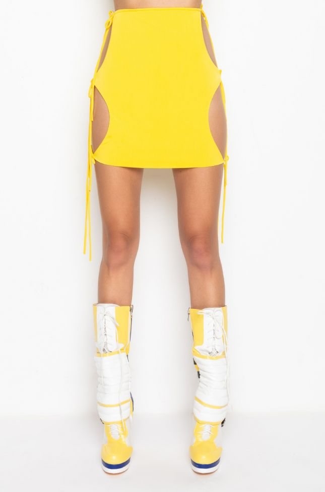 Front View Link Up Mini Skirt With Cut Outs