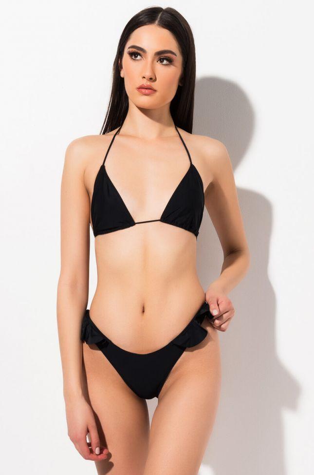 Front View Little Darling Ruffle Bikini Bottom in Black