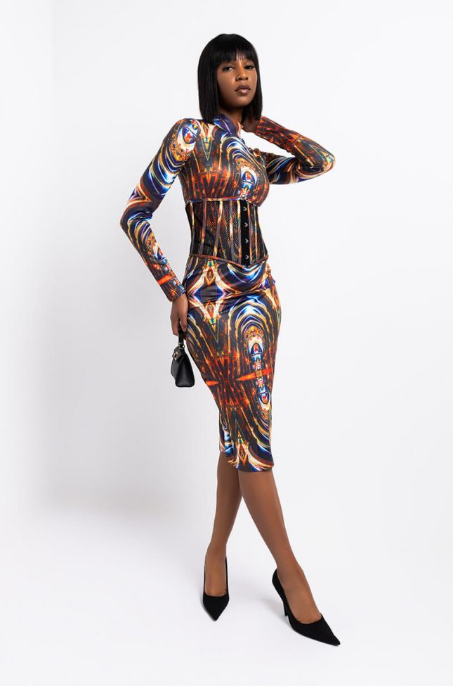 Front View Live Forever Mock Neck Bodycon Midi Dress With Attached Corset in Brown Multi