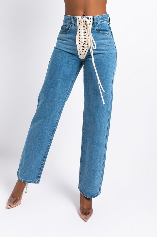Front View Live Your Life Lace Up Denim Pant in Medium Blue Denim