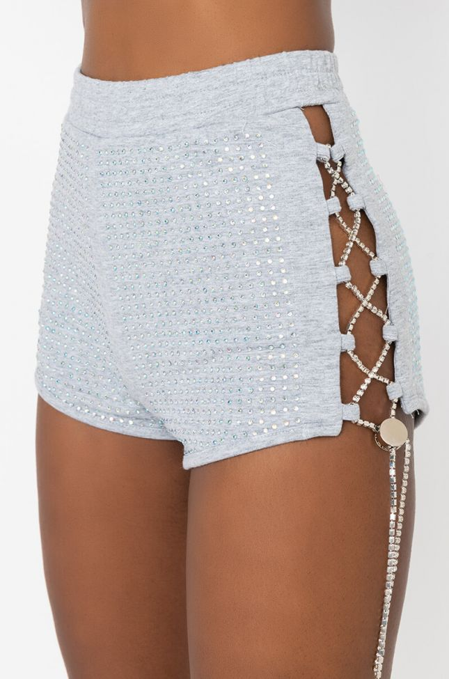 Detail View Livin It Up Lace Up Rhinestone Mini Shorts in Heather Grey