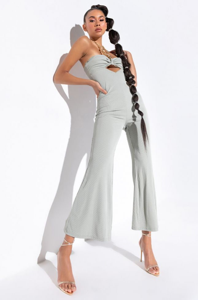 Front View Living For It Wide Leg Jumpsuit With Chain Neckline in Light Green