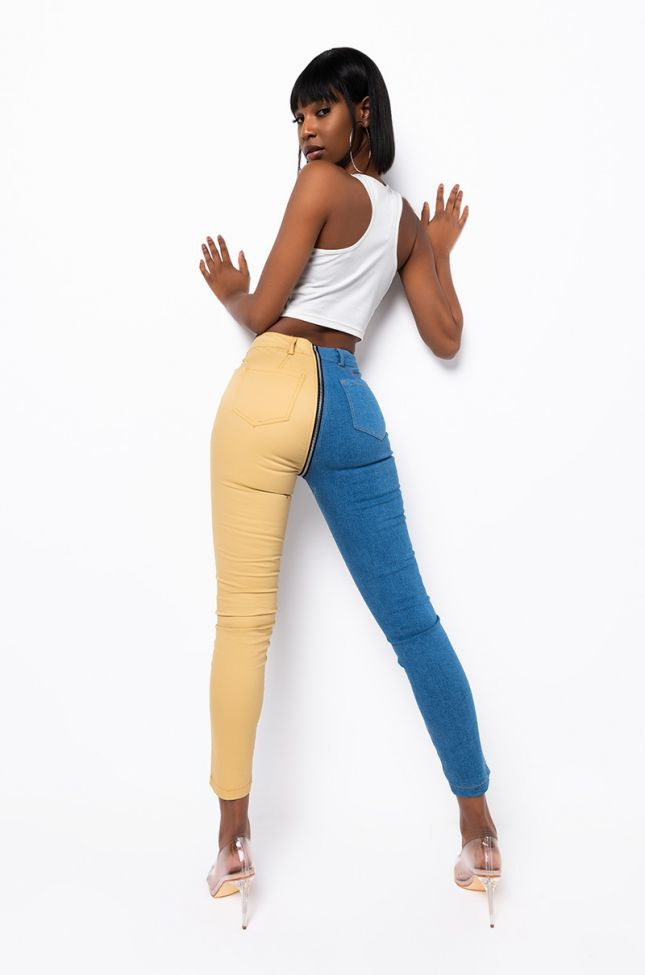 Living The Dream Two Tone Zip Up Pants in Blue Multi