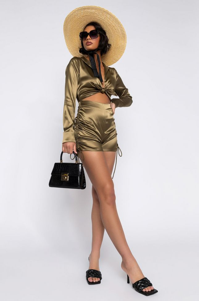 Side View Lola Romper With Front Tie in Olive