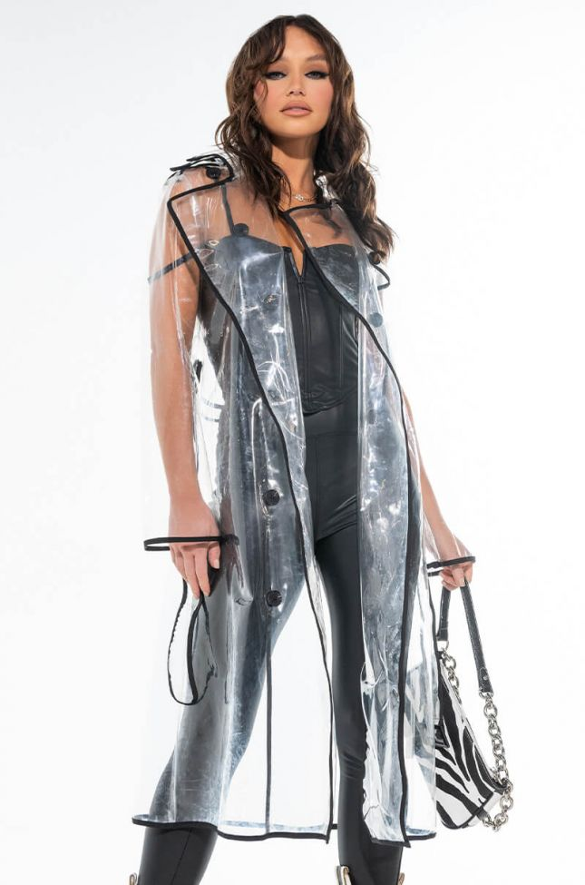 LONG CLEAR RAINCOAT WITH BLACK TRIM