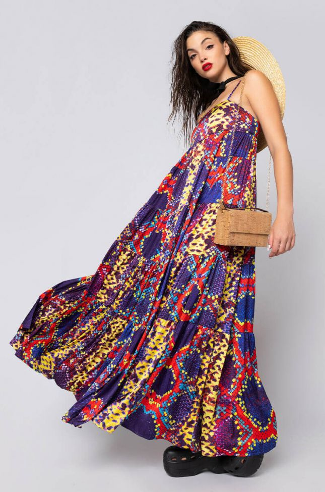 Side View Long Way To Go Thin Strap Maxi Dress in Orange Multi