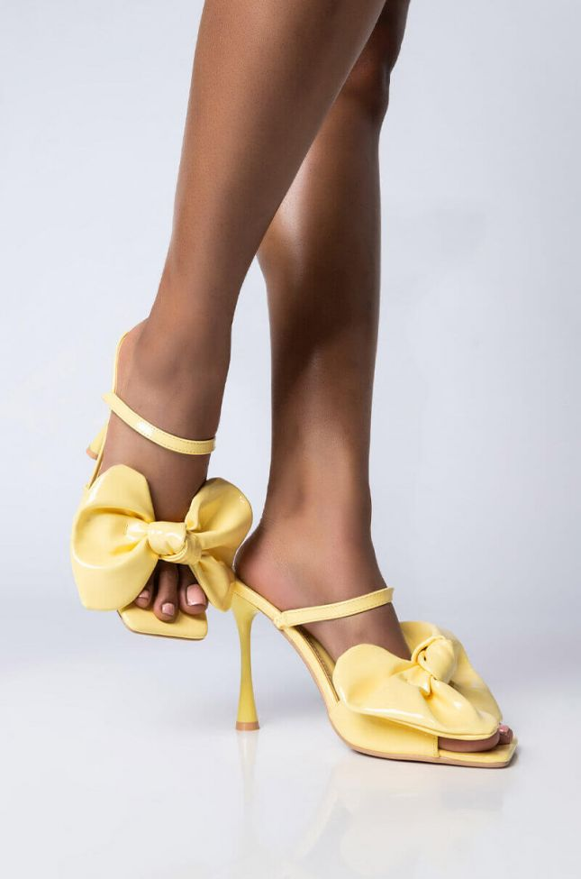 Front View Lookin For Love Stiletto Sandal in Yellow