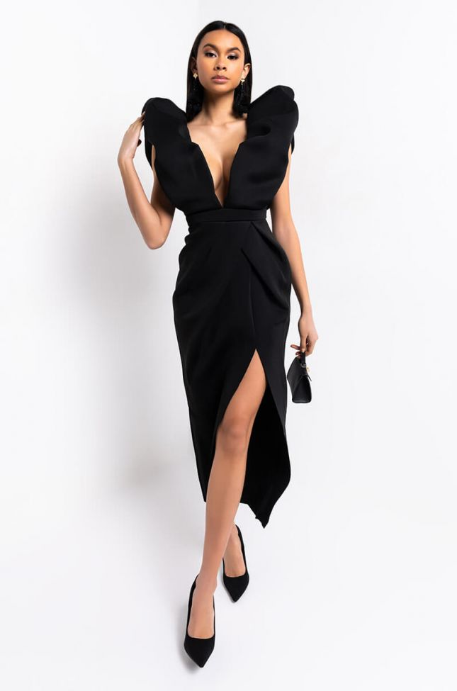 Front View Looking For A Friend Exaggerated Sleeve Maxi Dress in Black