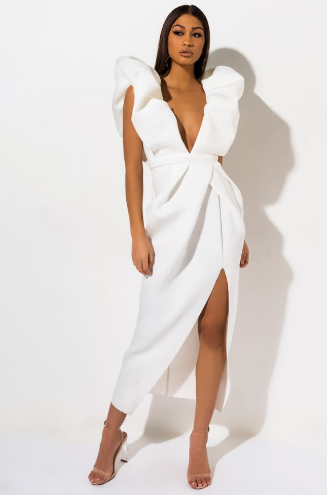Front View Looking For A Friend Exaggerated Sleeve Maxi Dress in White