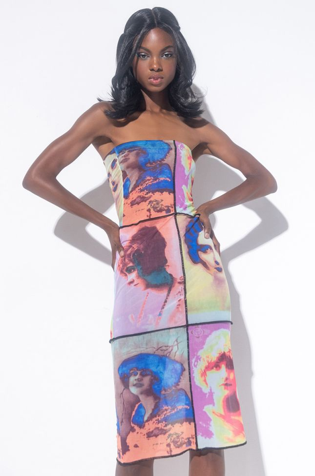 Front View Looks For Dayz Midi Tube Mesh Dress in Pink Multi