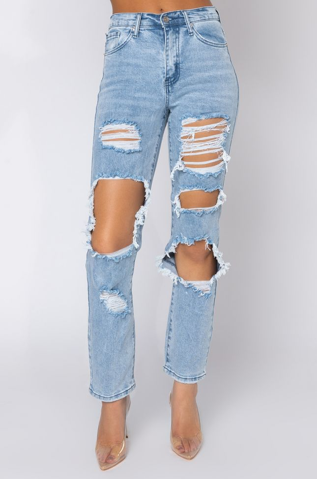 Front View Losing My Mind Relaxed Jeans in Light Blue Denim