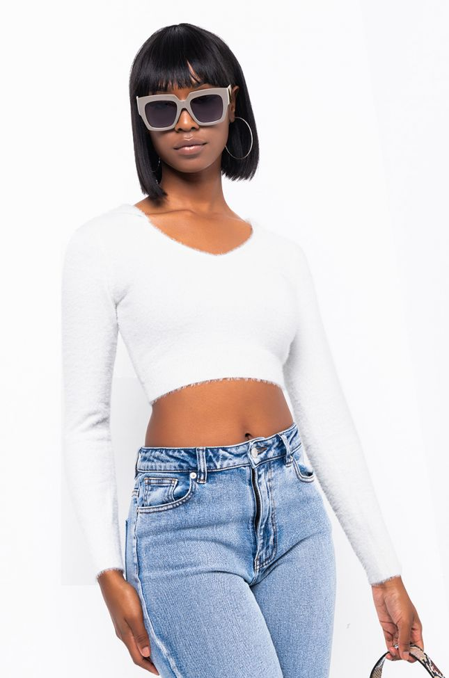 Front View Lost In Love Long Sleeve Scoop Neck Crop Sweater in Ivory