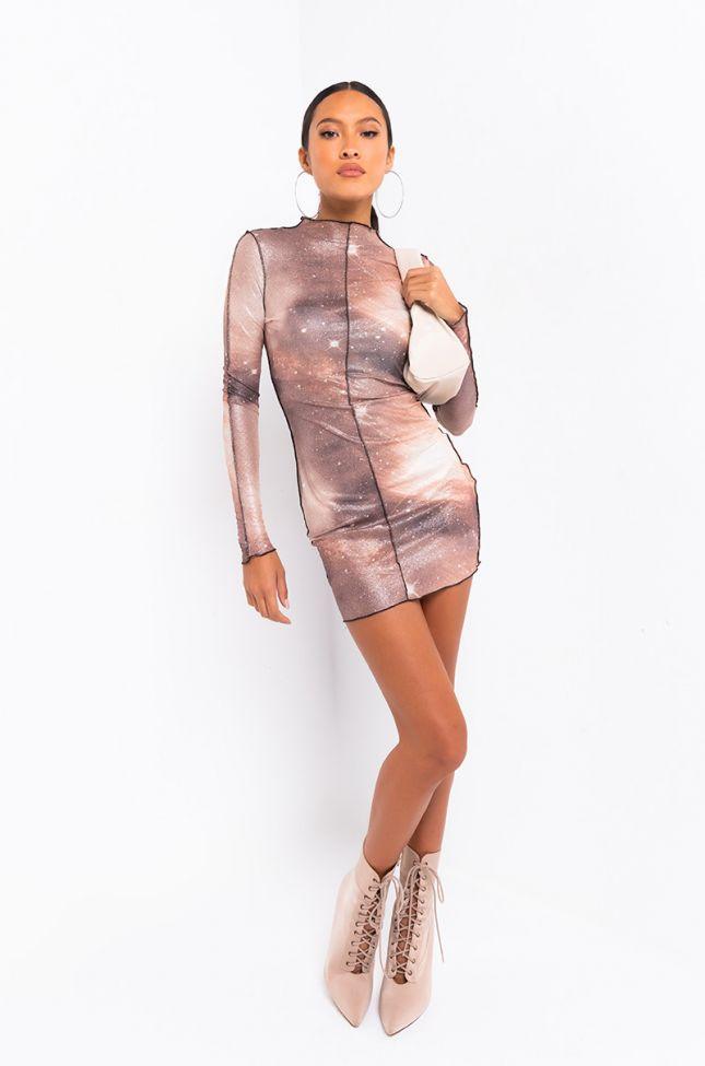 Full View Lost In Space Long Sleeve Mini Dress in Brown Multi